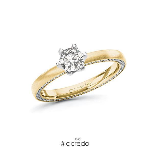 Verlobungsring in Gelbgold 585 Weißgold 585 mit 0,5 ct. + zus. 0,29 ct. tw, vs tw, si von acredo