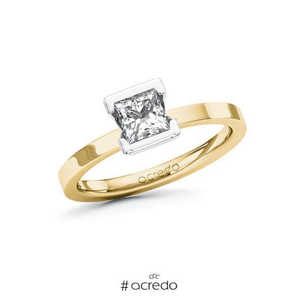 Verlobungsring in Gelbgold 585 Weißgold 585 mit 0,7 ct. Prinzess-Diamant tw, vs von acredo