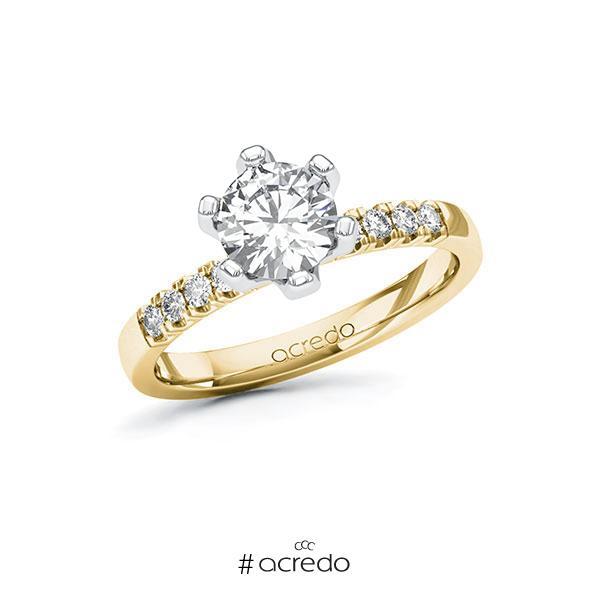 Verlobungsring in Gelbgold 585 Weißgold 585 mit 1 ct. + zus. 0,16 ct. Brillant tw, si von acredo