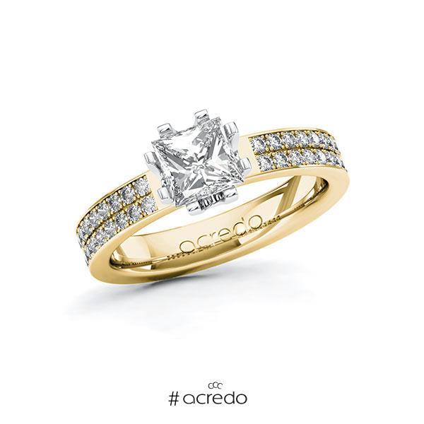 Verlobungsring in Gelbgold 585 Weißgold 585 mit 1 ct. + zus. 0,36 ct. Prinzess-Diamant tw, vs tw, si von acredo