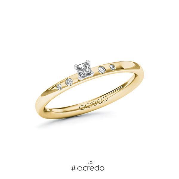 Verlobungsring in Gelbgold 585 Weißgold 585 mit zus. 0,13 ct. Brillant tw, si von acredo