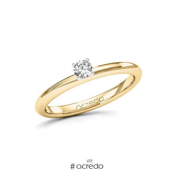 Verlobungsring in Gelbgold 585 Weißgold 585 mit zus. 0,15 ct. Brillant tw, si von acredo