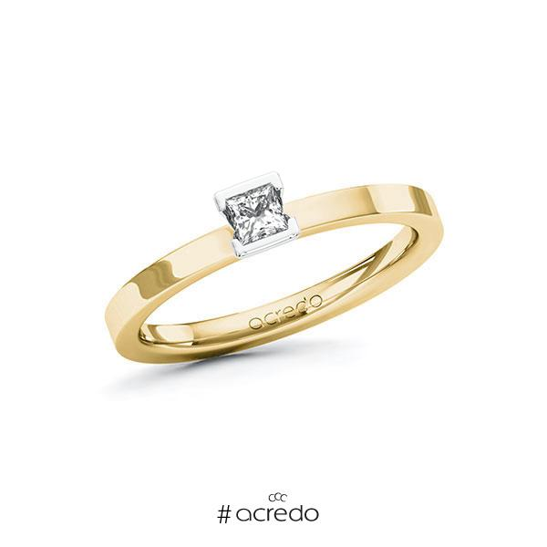 Verlobungsring in Gelbgold 585 Weißgold 585 mit zus. 0,15 ct. Prinzess-Diamant tw, si von acredo