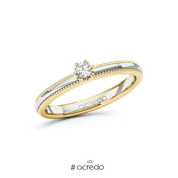 Verlobungsring in Gelbgold 585 Weißgold 585 mit zus. 0,1 ct. Brillant tw, si von acredo