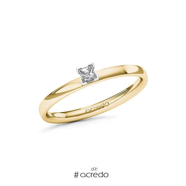 Verlobungsring in Gelbgold 585 Weißgold 585 mit zus. 0,1 ct. Prinzess-Diamant tw, vs von acredo