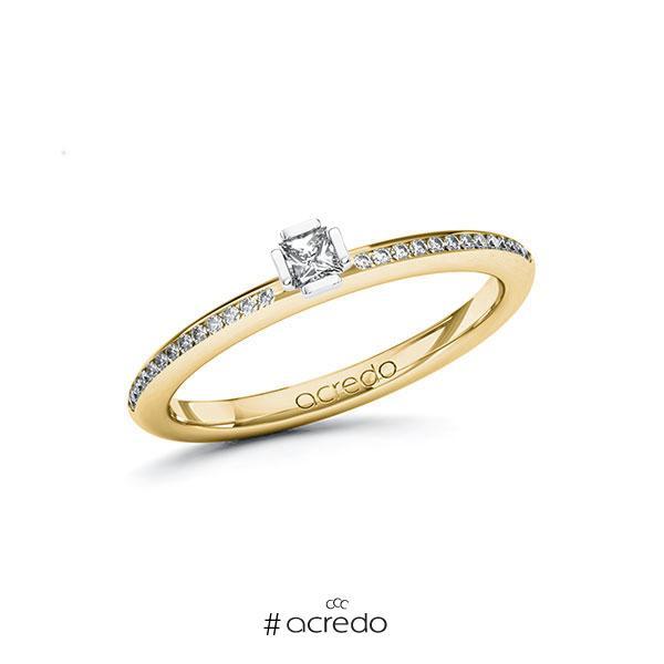 Verlobungsring in Gelbgold 585 Weißgold 585 mit zus. 0,23 ct. Prinzess-Diamant tw, si von acredo