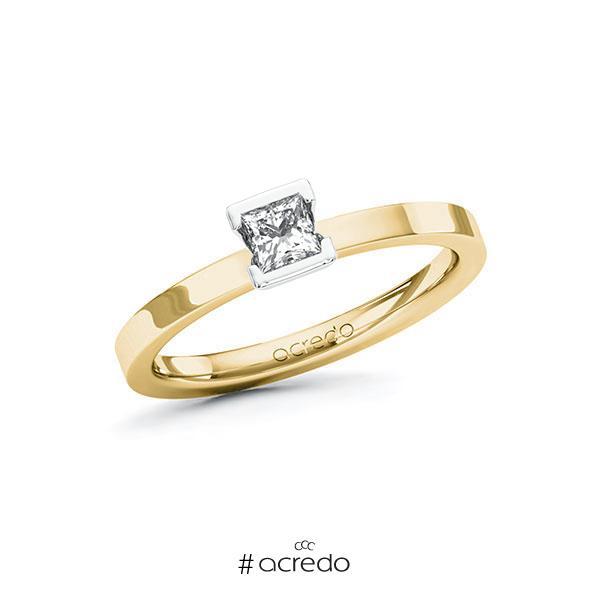Verlobungsring in Gelbgold 585 Weißgold 585 mit zus. 0,25 ct. Prinzess-Diamant tw, si von acredo