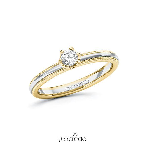 Verlobungsring in Gelbgold 585 Weißgold 585 mit zus. 0,2 ct. Brillant tw, si von acredo
