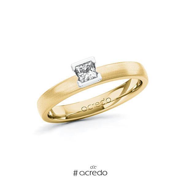 Verlobungsring in Gelbgold 585 Weißgold 585 mit zus. 0,2 ct. Prinzess-Diamant tw, si von acredo