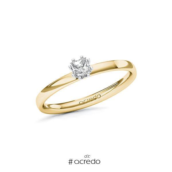 Verlobungsring in Gelbgold 585 Weißgold 585 mit zus. 0,2 ct. Prinzess-Diamant tw, vs von acredo