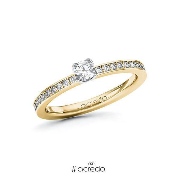 Verlobungsring in Gelbgold 585 Weißgold 585 mit zus. 0,4 ct. Brillant tw, si von acredo
