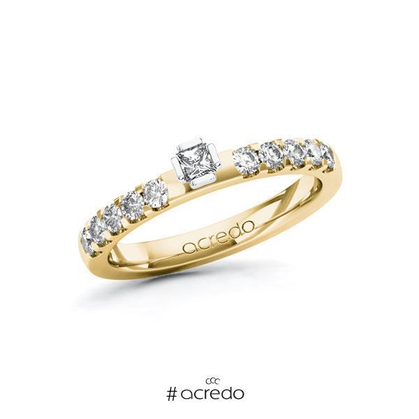 Verlobungsring in Gelbgold 585 Weißgold 585 mit zus. 0,4 ct. Prinzess-Diamant tw, si von acredo