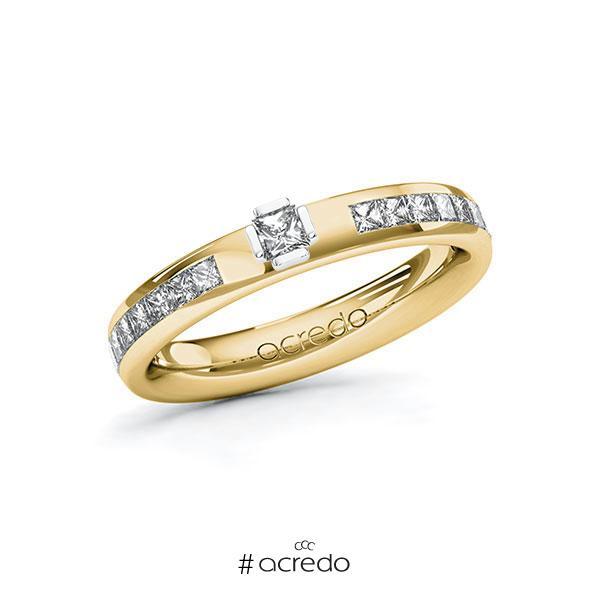 Verlobungsring in Gelbgold 585 Weißgold 585 mit zus. 0,58 ct. Prinzess-Diamant tw, vs tw, si von acredo
