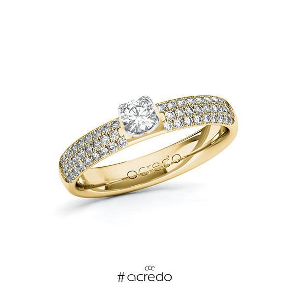 Verlobungsring in Gelbgold 585 Weißgold 585 mit zus. 0,632 ct. Brillant tw, si von acredo