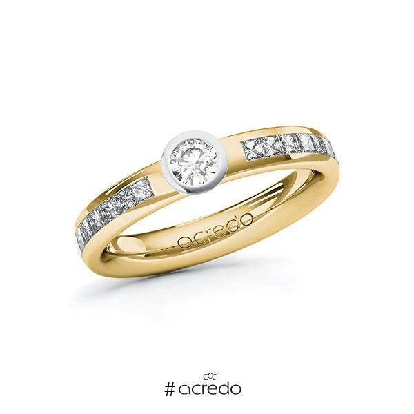 Verlobungsring in Gelbgold 585 Weißgold 585 mit zus. 0,68 ct. Brillant tw, si von acredo