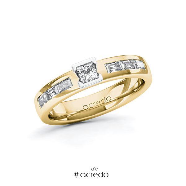 Verlobungsring in Gelbgold 585 Weißgold 585 mit zus. 0,68 ct. Prinzess-Diamant tw, si tw, vs von acredo