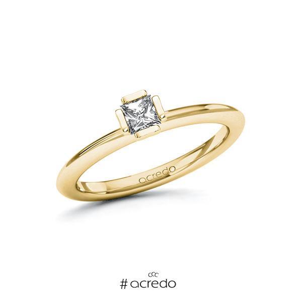 Verlobungsring in Gelbgold 750 mit zus. 0,25 ct. Prinzess-Diamant tw, si von acredo