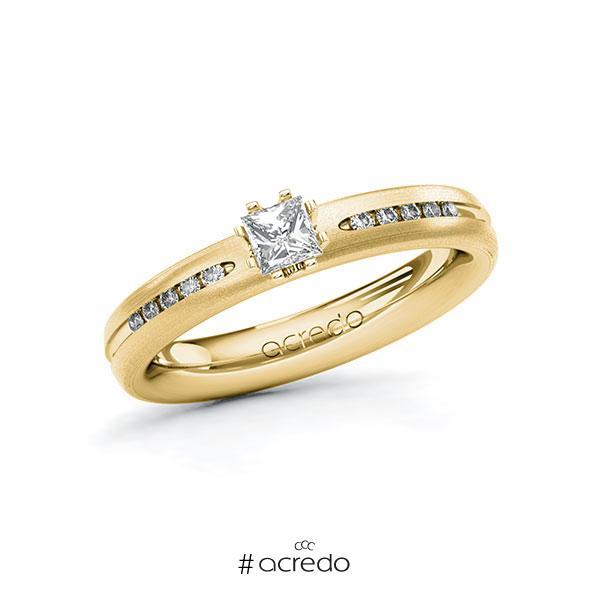 Verlobungsring in Gelbgold 750 mit zus. 0,33 ct. Prinzess-Diamant tw, si von acredo