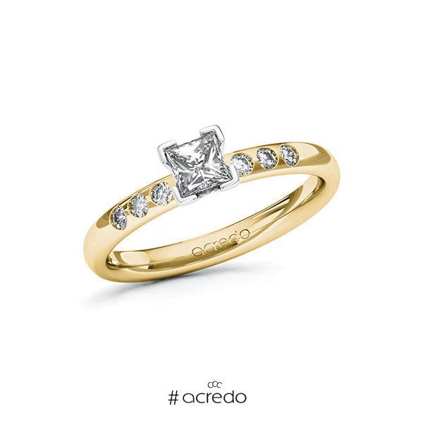 Verlobungsring in Gelbgold 750 Weißgold 750 mit 0,4 ct. + zus. 0,12 ct. Prinzess-Diamant tw, vs tw, si von acredo