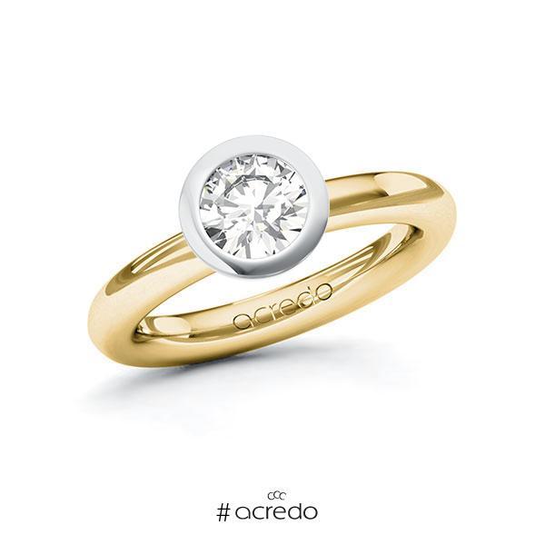 Verlobungsring in Gelbgold 750 Weißgold 750 mit 1 ct. Brillant tw, vs von acredo