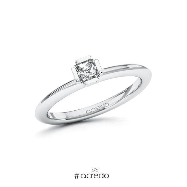 Verlobungsring in Platin 950 mit zus. 0,25 ct. Prinzess-Diamant tw, si von acredo