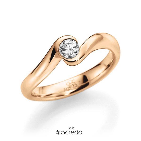 Verlobungsring in Roségold 585 mit 0,3 ct. Brillant tw, vs von acredo