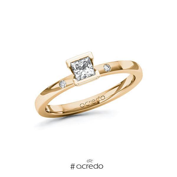 Verlobungsring in Roségold 585 mit 0,3 ct. + zus. 0,02 ct. Prinzess-Diamant tw, vs tw, si von acredo