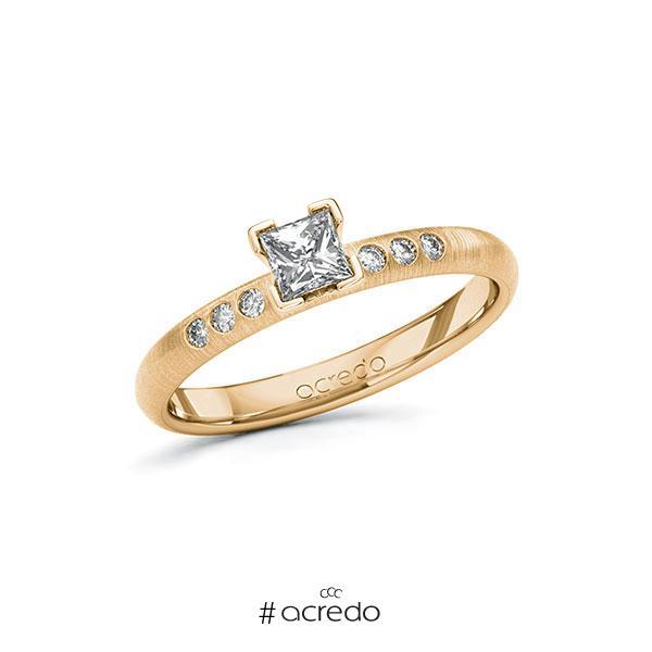 Verlobungsring in Roségold 585 mit 0,3 ct. + zus. 0,06 ct. Prinzess-Diamant tw, vs tw, si von acredo