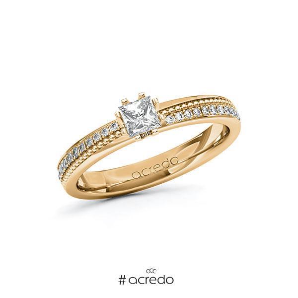Verlobungsring in Roségold 585 mit 0,3 ct. + zus. 0,296 ct. Prinzess-Diamant tw, vs tw, si von acredo