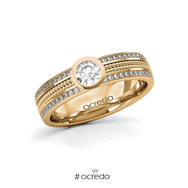 Verlobungsring in Roségold 585 mit 0,3 ct. + zus. 0,29 ct. Brillant tw, si von acredo