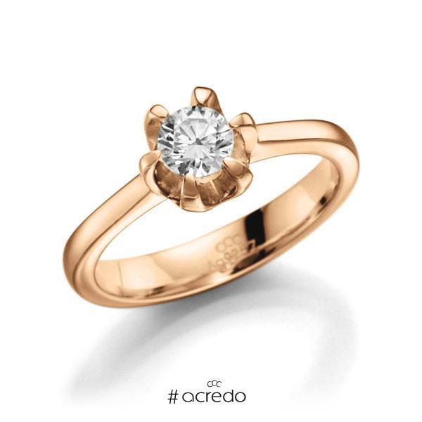 Verlobungsring in Roségold 585 mit 0,4 ct. Brillant tw, vs von acredo
