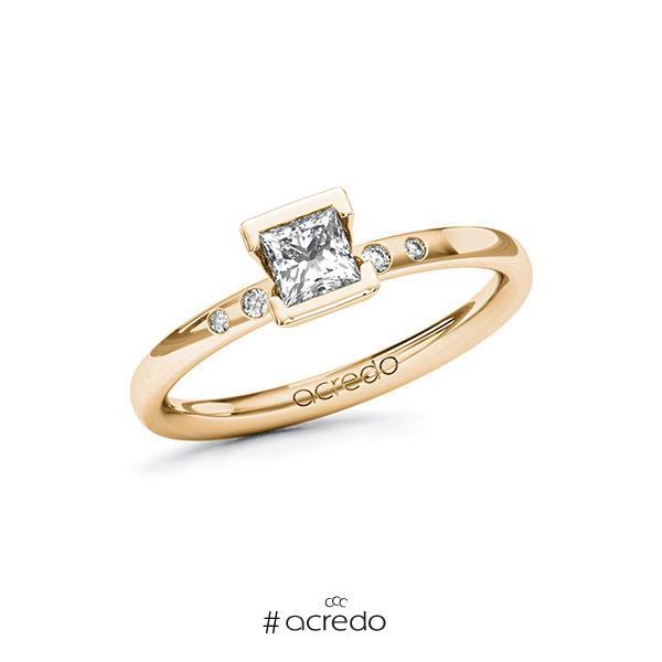 Verlobungsring in Roségold 585 mit 0,4 ct. + zus. 0,03 ct. Prinzess-Diamant tw, vs tw, si von acredo