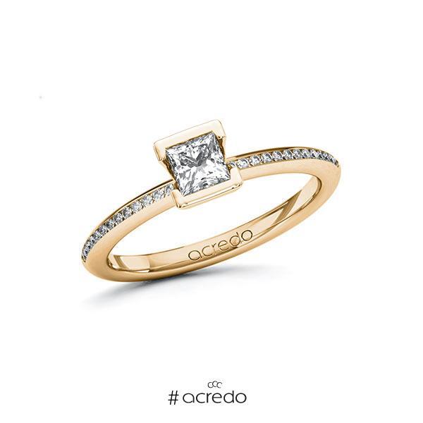 Verlobungsring in Roségold 585 mit 0,4 ct. + zus. 0,13 ct. Prinzess-Diamant tw, vs tw, si von acredo