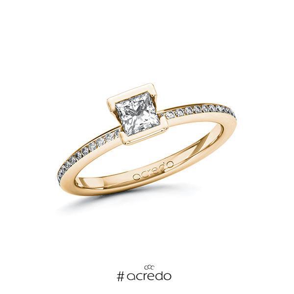Verlobungsring in Roségold 585 mit 0,4 ct. + zus. 0,15 ct. Prinzess-Diamant tw, vs tw, si von acredo
