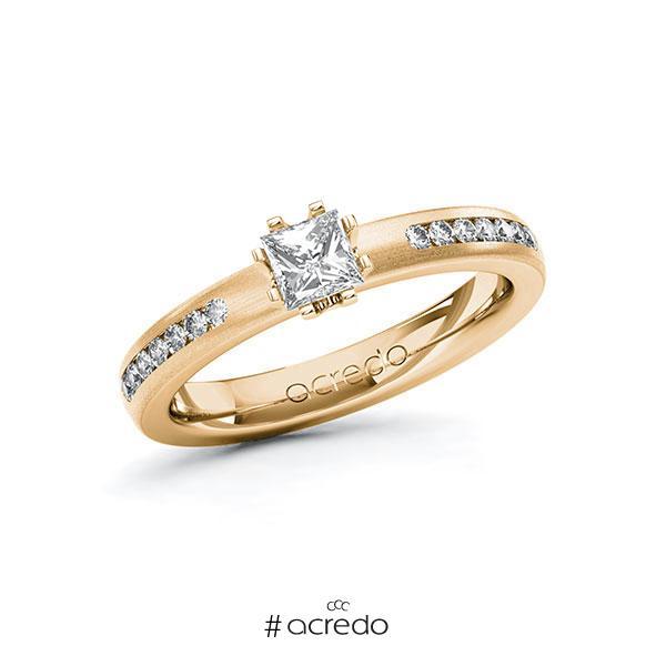 Verlobungsring in Roségold 585 mit 0,4 ct. + zus. 0,21 ct. Prinzess-Diamant tw, vs tw, si von acredo