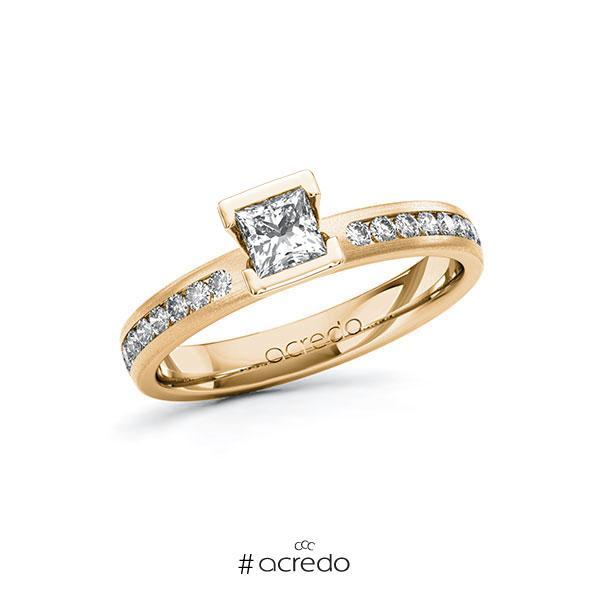 Verlobungsring in Roségold 585 mit 0,4 ct. + zus. 0,24 ct. Prinzess-Diamant tw, vs tw, si von acredo
