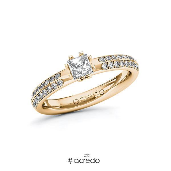 Verlobungsring in Roségold 585 mit 0,4 ct. + zus. 0,288 ct. Prinzess-Diamant tw, vs tw, si von acredo