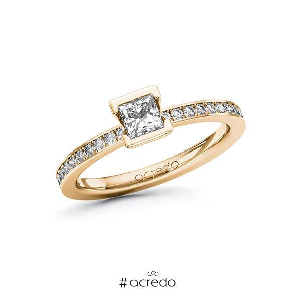 Verlobungsring in Roségold 585 mit 0,4 ct. + zus. 0,2 ct. Prinzess-Diamant tw, vs tw, si von acredo