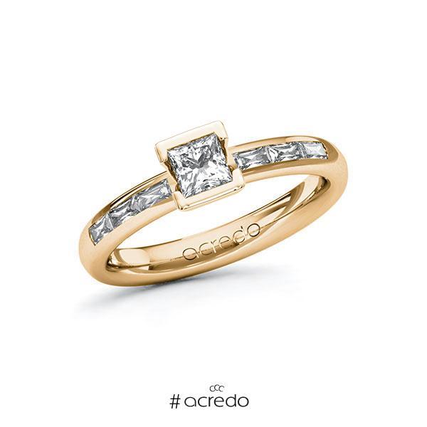 Verlobungsring in Roségold 585 mit 0,4 ct. + zus. 0,3 ct. Prinzess-Diamant tw, vs von acredo