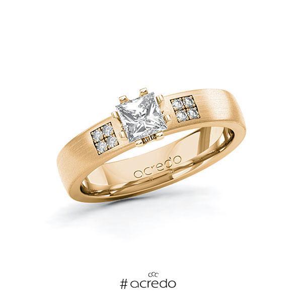 Verlobungsring in Roségold 585 mit 0,5 ct. + zus. 0,064 ct. Prinzess-Diamant tw, vs tw, si von acredo