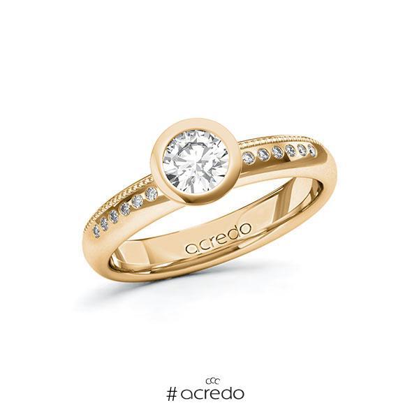 Verlobungsring in Roségold 585 mit 0,5 ct. + zus. 0,07 ct. Brillant tw, si von acredo