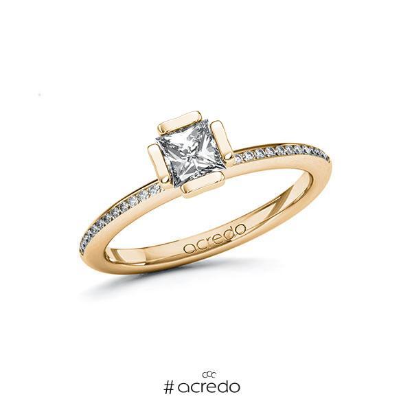 Verlobungsring in Roségold 585 mit 0,5 ct. + zus. 0,13 ct. Prinzess-Diamant tw, vs tw, si von acredo