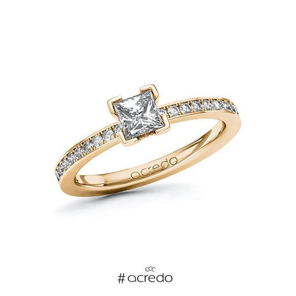 Verlobungsring in Roségold 585 mit 0,5 ct. + zus. 0,2 ct. Prinzess-Diamant tw, vs tw, si von acredo
