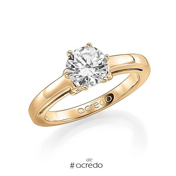 Verlobungsring in Roségold 585 mit 0,7 ct. 12 St. zusammen 0,06ct. Brillant w, si tw, si von acredo