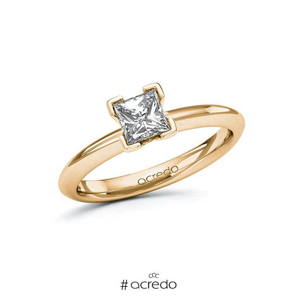 Verlobungsring in Roségold 585 mit 0,7 ct. Prinzess-Diamant tw, vs von acredo
