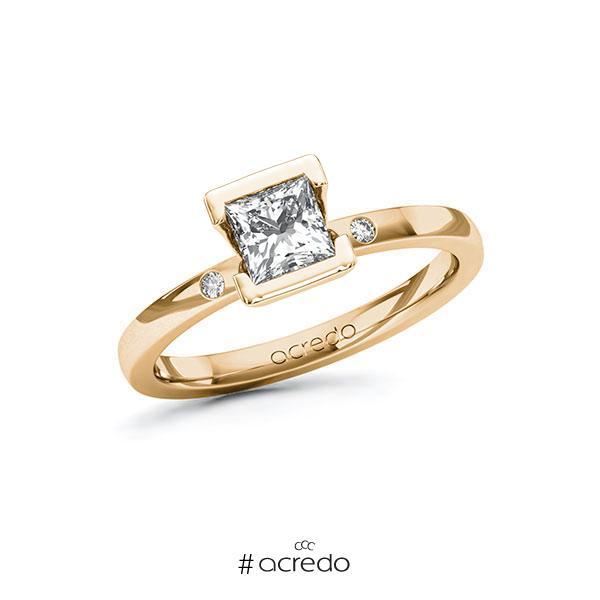 Verlobungsring in Roségold 585 mit 0,7 ct. + zus. 0,02 ct. Prinzess-Diamant tw, vs tw, si von acredo