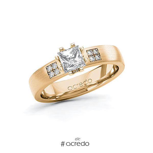 Verlobungsring in Roségold 585 mit 0,7 ct. + zus. 0,064 ct. Prinzess-Diamant tw, vs tw, si von acredo