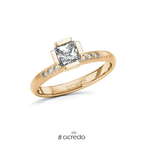 Verlobungsring in Roségold 585 mit 0,7 ct. + zus. 0,06 ct. Prinzess-Diamant tw, vs tw, si von acredo