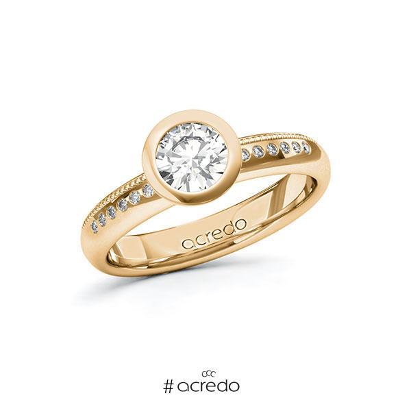 Verlobungsring in Roségold 585 mit 0,7 ct. + zus. 0,07 ct. Brillant tw, si von acredo