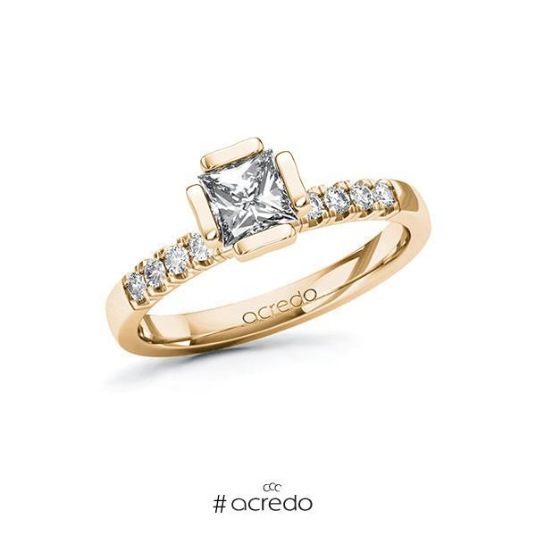 Verlobungsring in Roségold 585 mit 0,7 ct. + zus. 0,16 ct. Prinzess-Diamant tw, vs tw, si von acredo